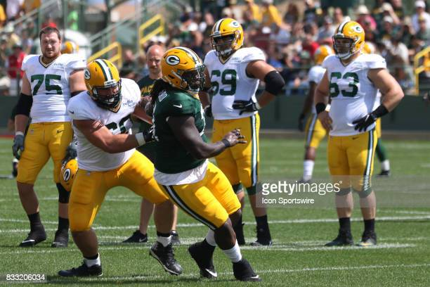 during Green Bay Packers training camp at Ray Nitshke Field on August 16 2107 in Green Bay WI