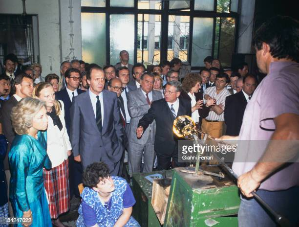 During his official trip to Czechoslovakia the Spanish Kings Juan Carlos and Sofia during her visit to the glass factory Muser 8th July 1987 Prague...