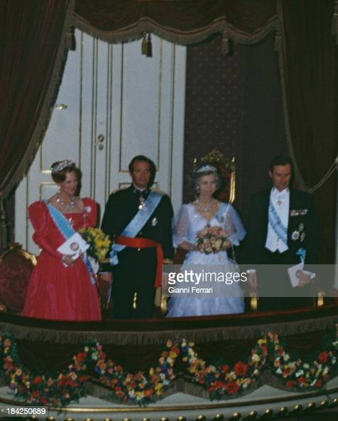 During his official visit to Denmark the Spanish Kings Juan Carlos and Sofia accompanied by the Danish Queen Margaret and the Prince Consort Henry of...