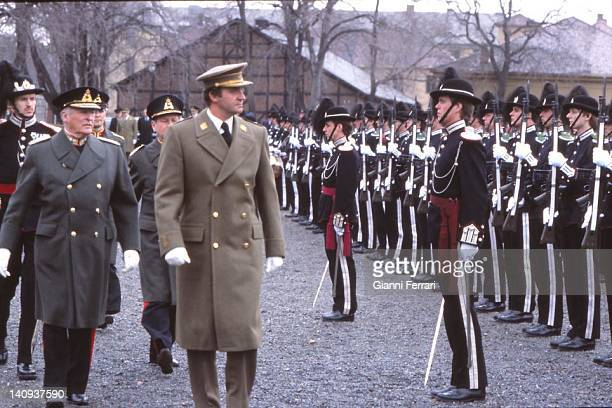 During his official visit to Norway the Spanish King Juan Carlos accompanied by the Norwegian King Olav reviews the troops 14th April 1982 Oslo Norway