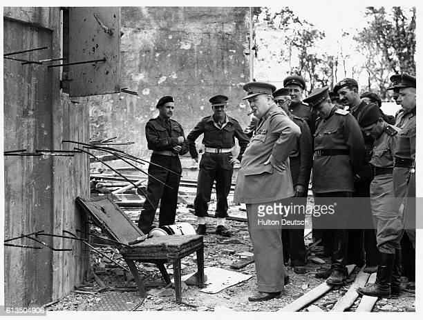 During his tour of the ruined Chancellery Prime Minister Winston Churchill was shown by his Russian guides the smashed chair of the late Fuhrer