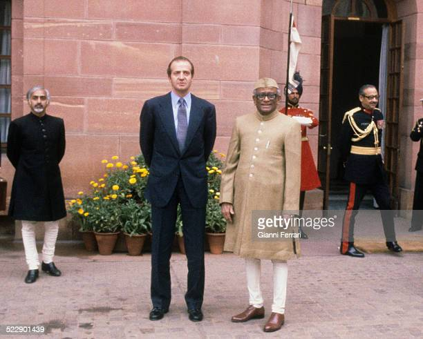During his trip to India the Spanish King Juan Carlos of Borbon in a meeting with the Indian President Neelam Sanjiva Reddy 25th January 1982 New...