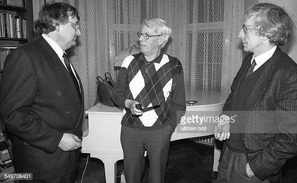 during in Interview with the WestGerman weekly news magazine Der Spiegel from left to right editor Ulrich Schwarz Stephan Hermlin editor Wolfram...