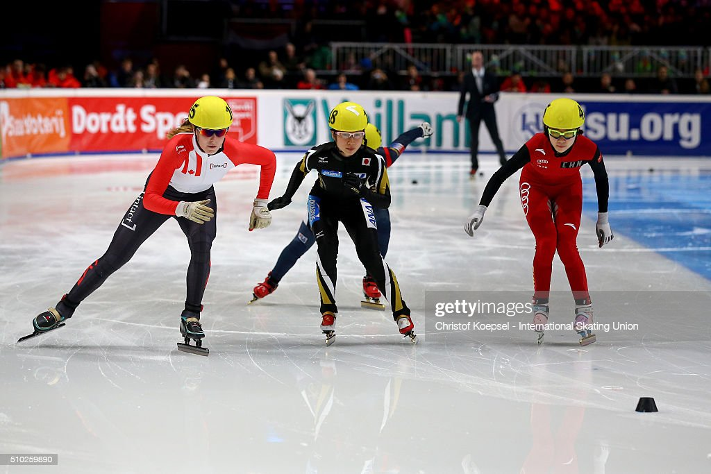 during ladies 1000m semifinal second race heat two during Day 3 of ISU Short Track World Cup at Sportboulevard on February 14, 2016 in Dordrecht, Netherlands.