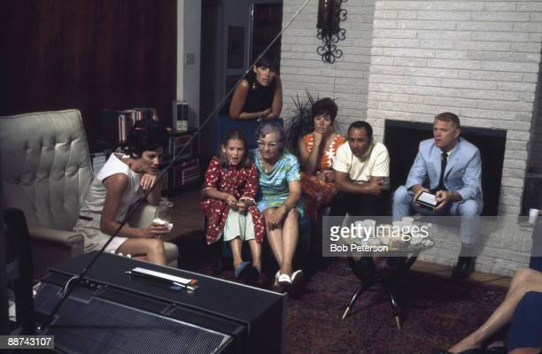 During NASA's Apollo 11 mission to the moon astronaut families watch television coverage July 20 1969 Pictured are Pat Collins and her daughter Ann...