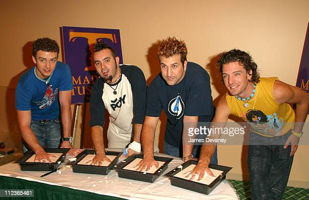 *NSYNC during *NSYNC takes measurements for Madame Tussaud wax figures before their Challenge for the Children Celebrity Basketball Weekend at Royal...