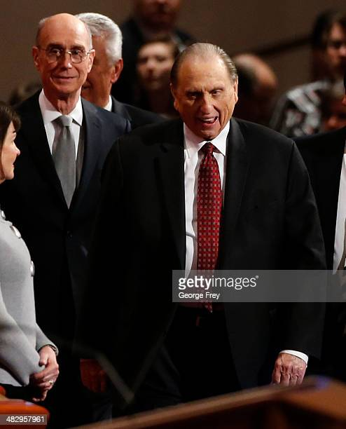during President Thomas Monson and First Counselor Henry Eyring arrive for the second session of the 184th annual general conference of The Church of...