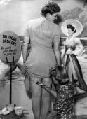 During stocking rationing a beautician at the newlyopened Bare Leg Beauty Bar at Kennard's store in Croydon paints stockings onto a customer's skin