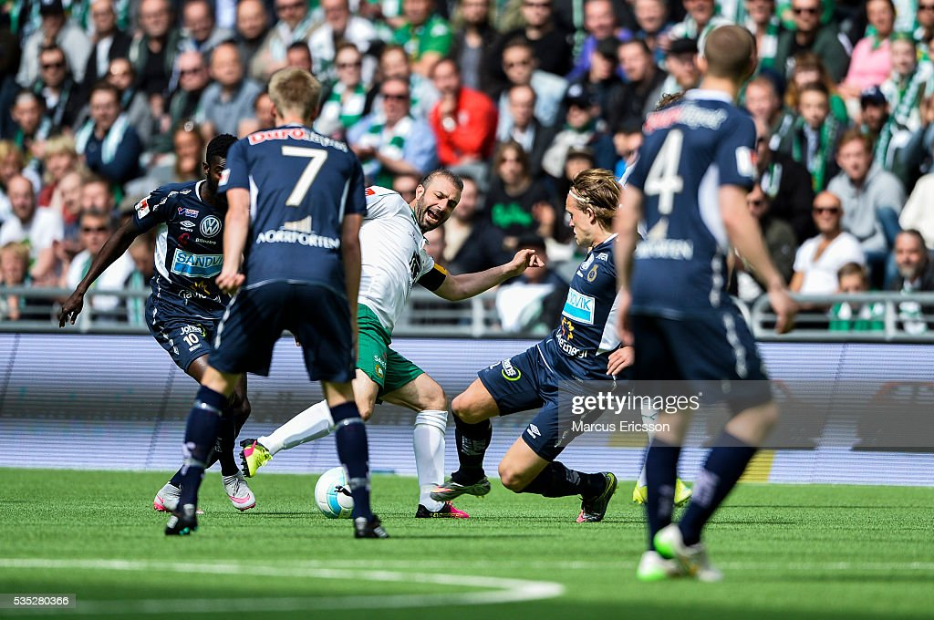 during the Allsvenskan match between Hammarby IF and Gefle IF at Tele2 Arena on May 29, 2016 in Stockholm, Sweden.