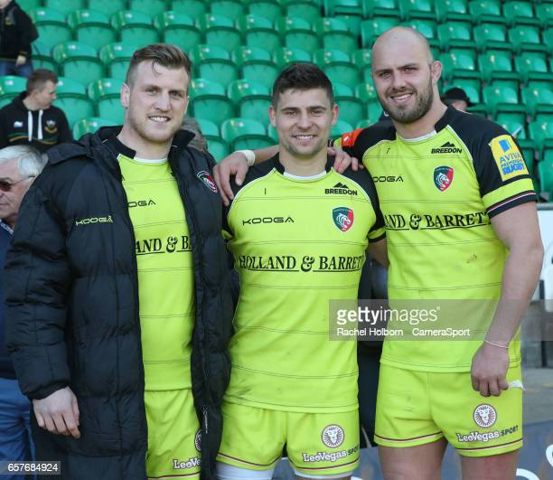 Leicester Tigers' Brendon O'Connor Leicester Tigers' Ben Youngs and Leicester Tigers' Lachlan McCaffrey NORTHAMPTON ENGLAND MARCH 25 during the Aviva...