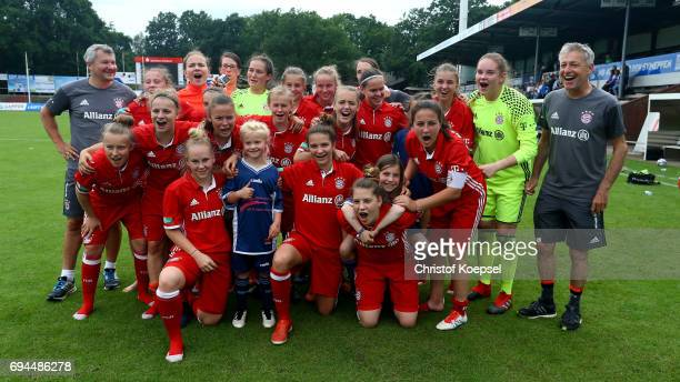 during the B Junior Girl's German Championship Semi Final match between SV Meppen and Bayern Muenchen at Haensch Arena on June 10 2017 in Meppen...