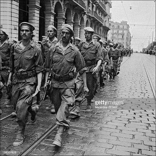 During the Battle of Algiers French paratroopers marching Algiers during June 1957 in Algiers Algeria