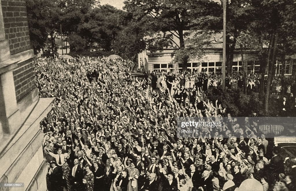 During the Bayreuth festival the cheering crowd is greeting Hitler Weimar Republic