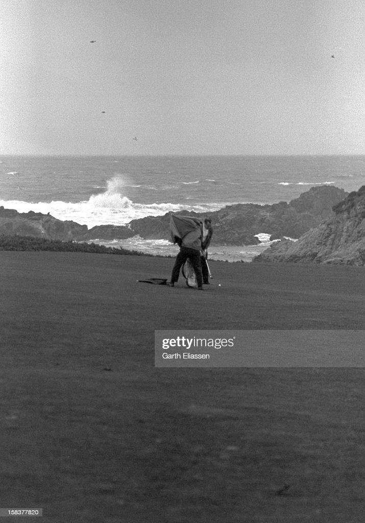 During the Bing Crosby National ProAmateur golf tournament golfer Wheeler Farish Jr shoots back to the green on the course near the 16th hole at...