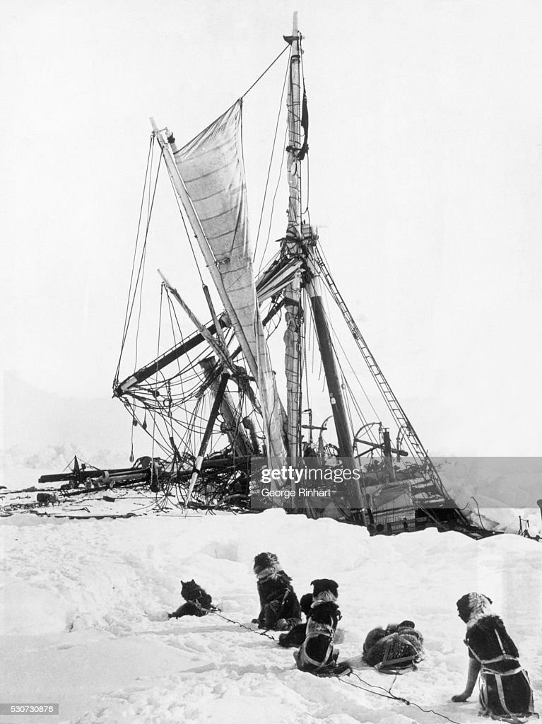 During the British Imperial TransAntarctic Expedition Sir Edmund Shackleton's boat Endurance sinks in the pack ice of the Weddell Sea while sled dogs...