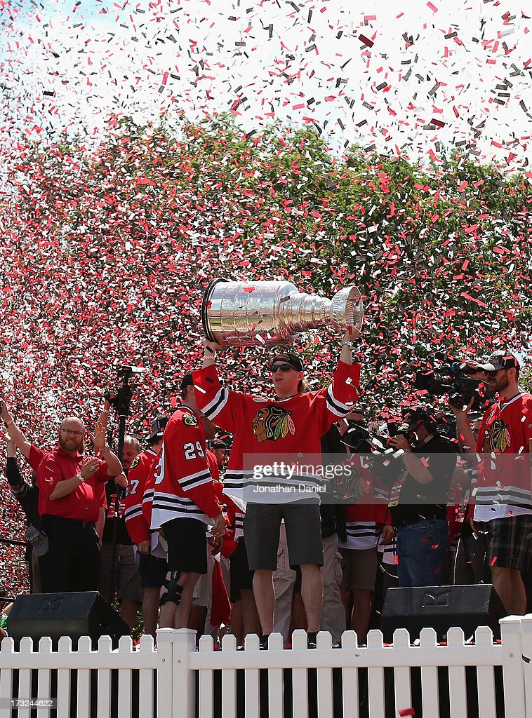 during the Chicago Blackhawks Victory Parade and Rally on June 28, 2013 in Chicago, Illinois.