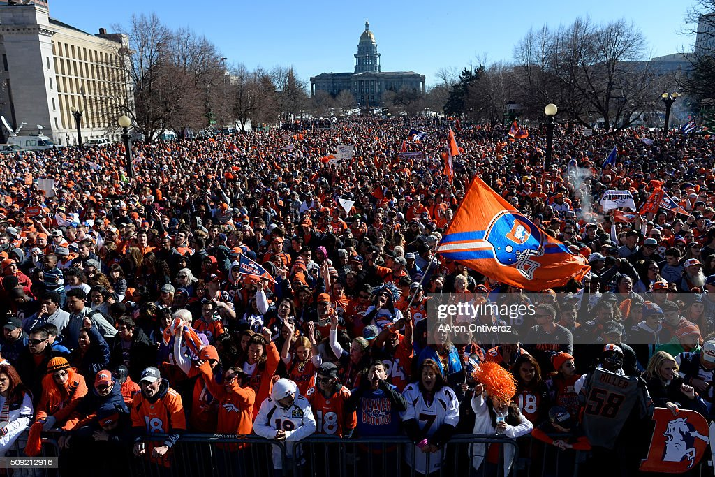during the Denver Broncos Super Bowl championship celebration and parade on Tuesday February 9, 2016.