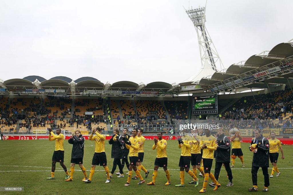 during the Dutch Eredivisie match between Roda JC Kerkrade and FC Groningen at the Parkstad Limburg Stadium on march 03, 2013 in Kerkrade, The Netherlands