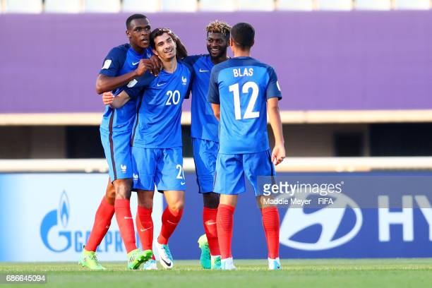 Martin Terrier celebrates with Ludovic Blas Jerome Onguene and Issa Diop after scoring his teams third goal during the FIFA U20 World Cup Korea...
