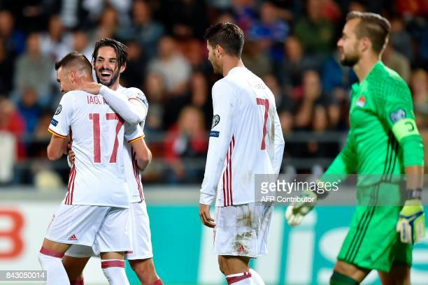 during the FIFA World Cup 2018 qualification football match between Liechtenstein and Spain on September 5 2017 in VaduzMICHAEL BUHOLZER / AFP / AFP...