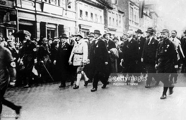 During the first meeting of the German nationalsocialist Workers Party between July 3rd and 5th in Weimar Germany Adolf HITLER led a parade of 5000...
