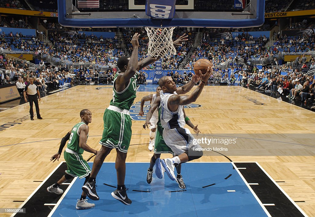 during the game between the Boston Celtics and the Orlando Magic on November 25, 2012 at Amway Center in Orlando, Florida.