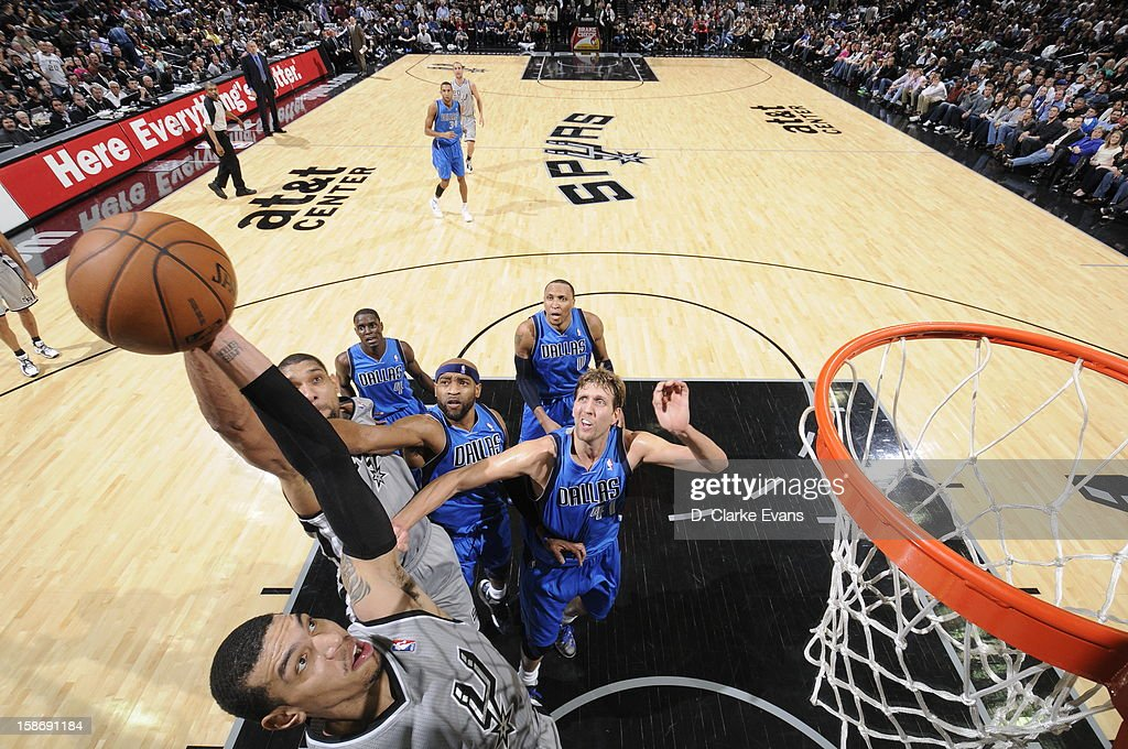 during the game between the Dallas Mavericks and the San Antonio Spurs on December 23, 2012 at the AT&T Center in San Antonio, Texas.