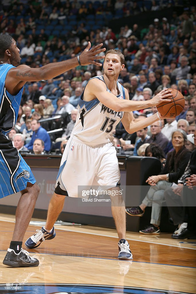 during the game between the Minnesota Timberwolves and the Orlando Magic on November 7, 2012 at Target Center in Minneapolis, Minnesota.