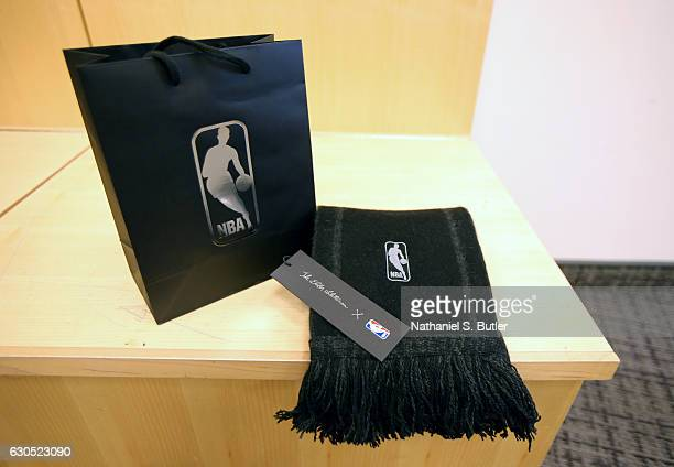 A view of the scarf that was gifted to the players in the game between the Boston Celtics and the New York Knicks at Madison Square Garden in New...