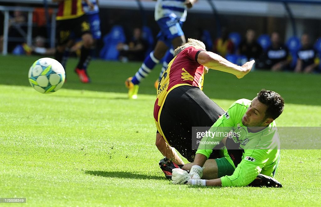 during the Jupiler League match between KAA Gent and KV Mechelen on August 04, 2013 in the Ghelamco stadium Gent, Belgium. (Photo by Philippe Crcohet / Photonews