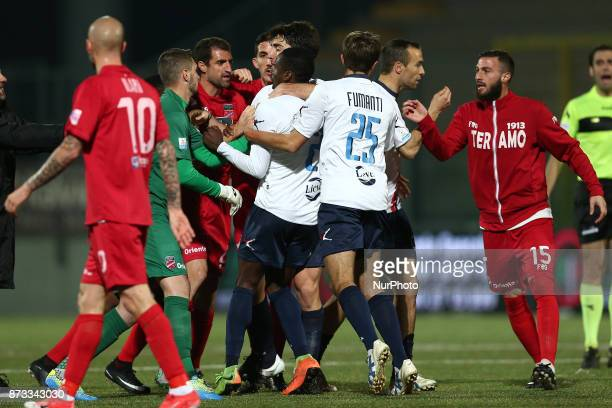 during the Lega Pro 17/18 group B match between Teramo Calcio 1913 and AS Gubbio 1910 at Gaetano Bonolis stadium on November 12 2017 in Teramo Italy