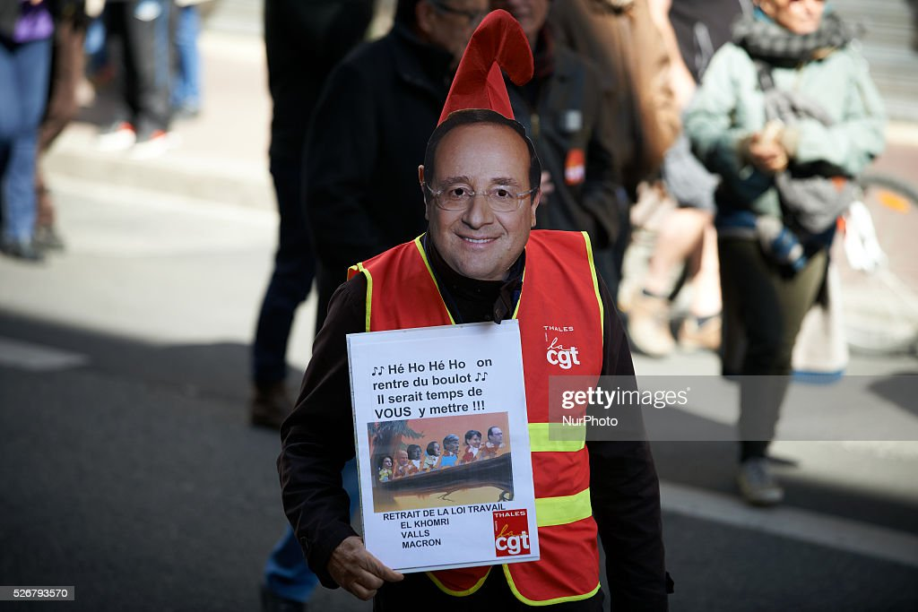 During the march for Labor Day, a demonstrator, disguised in President Fran��ois Hollande, is making fun of the new movement created for the reelection of Fran��ois Hollande in 2017. Toulouse. France. May 1st 2016.