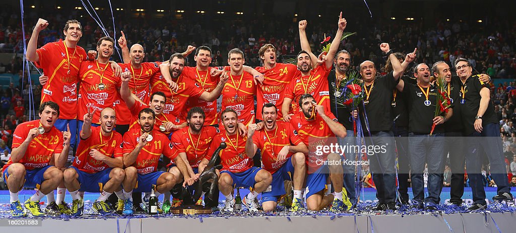 during the Men's Handball World Championship 2013 final match between Spain and Denmark at Palau Sant Jordi on January 27, 2013 in Barcelona, Spain.