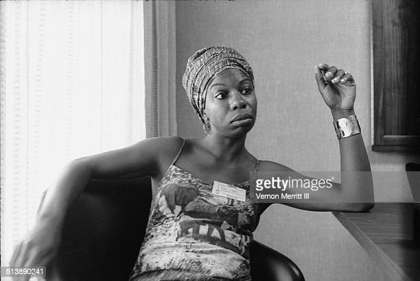 During the NARA convention American musician Nina Simone sits at a table in the Regency Hyatt Hotel Atlanta Georgia August 9 through 13 1967