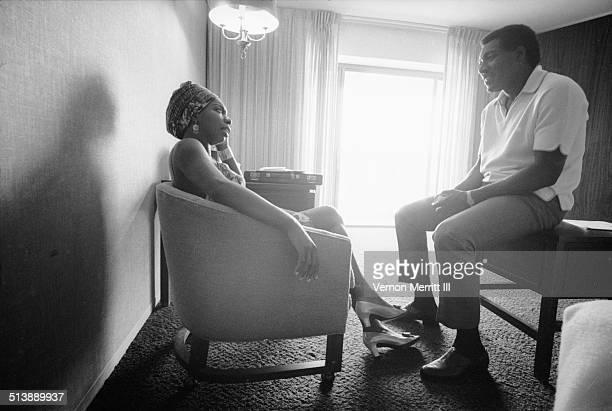 During the NARA convention musicians Nina Simone and Otis Redding talk in a room at the Regency Hyatt Hotel Atlanta Georgia August 9 through 13 1967