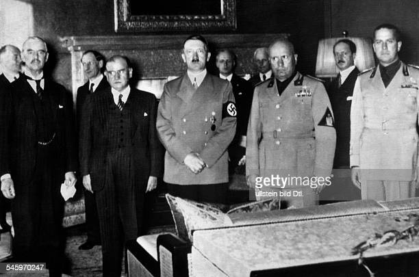 During the negotiations in the 'Führerbau' on Königlicher Platz in Munich Front row from left British prime minister Neville Chamberlain his French...
