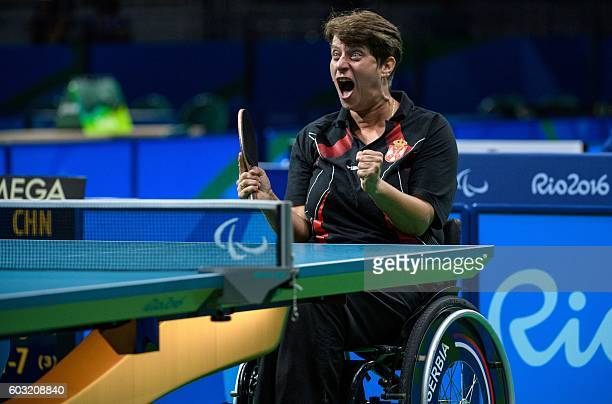 Serbia's Borislava PericRankovic faces China's Miao Zhang in their Women's Singles Cl 4 table tennis Gold Medal Match at Riocentro Pavilion 3 during...