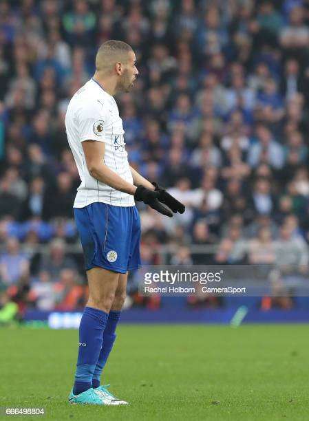 Leicester City's Islam Slimani LIVERPOOL ENGLAND APRIL 09 during the Premier League match between Everton and Leicester City at Goodison Park on...