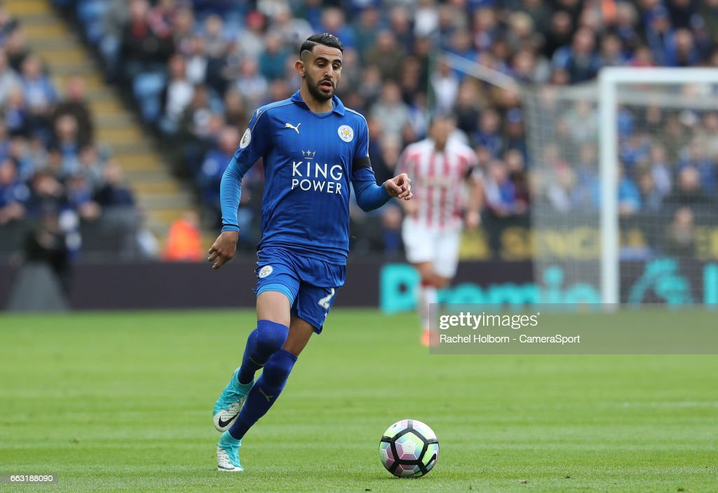 Leicester City's Riyad Mahrez LEICESTER, ENGLAND - APRIL 01: during the Premier League match between Leicester City and Stoke City at The King Power Stadium on April 1, 2017 in Leicester, England.
