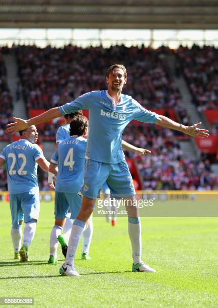 during the Premier League match between Southampton and Stoke City at St Mary's Stadium on May 21 2017 in Southampton England