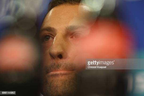 during the presentation of new head coach Domenico Tedesco at VeltinsArena on June 21 2017 in Gelsenkirchen Germany
