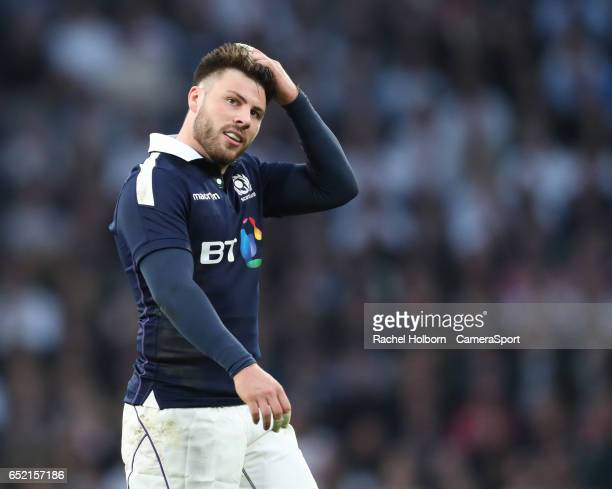 Scotland's Ali Price LONDON ENGLAND MARCH 11 during the RBS Six Nations Championship match between England and Scotland at Twickenham Stadium on...
