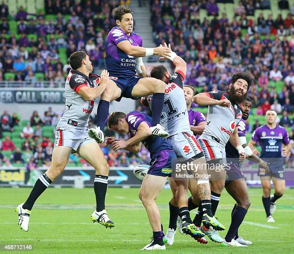 during the round five NRL match between the Melbourne Storm and the New Zealand Warriors at AAMI Park on April 6 2015 in Melbourne Australia
