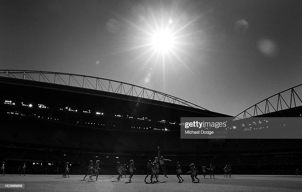 during the round two AFL NAB Cup match between the St Kilda Saints and the Sydney Swans at Etihad Stadium on March 3, 2013 in Melbourne, Australia.