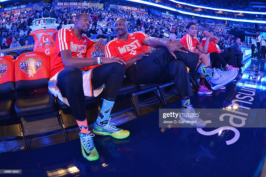 during the Sears Shooting Stars Competition on State Farm All-Star Saturday Night as part of the 2014 All-Star Weekend at Smoothie King Center on February 15, 2014 in New Orleans, Louisiana.