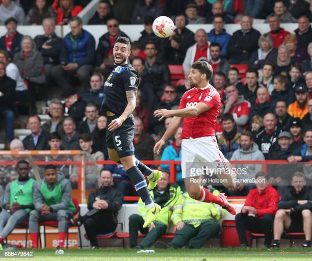 Blackburn Rovers' Derrick Williams Nottingham Forest's Eric Lichaj NOTTINGHAM ENGLAND APRIL 14 during the Sky Bet Championship match between...