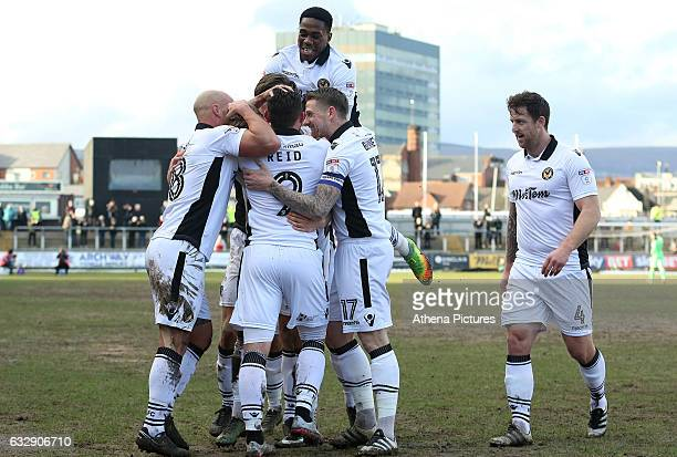 during the Sky Bet League Two match between Newport County and Hartlepool United at Rodney Parade on January 28 2017 in Newport Wales