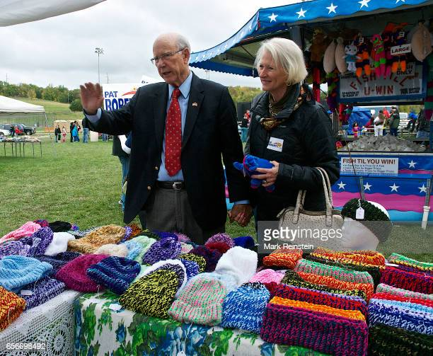 During the Turner Community Day festival at Steineger Field American politician US Senator Pat Roberts and his wife Franki Roberts stop at a stall...