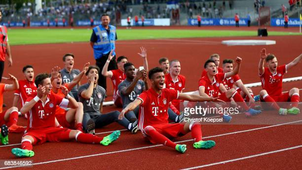 during the U19 German Championship Semi Final second leg match between FC Schalke and FC Bayern at Lohrheide Stadium on May 15 2017 in...