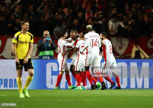 during the UEFA Champions League Quarter Final second leg match between AS Monaco and Borussia Dortmund at Stade Louis II on April 19 2017 in Monaco...